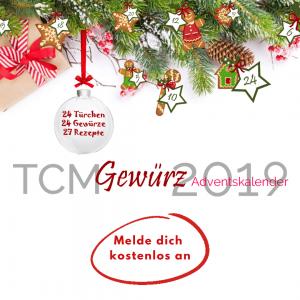 TCM Gewürz Adventskalender 2019 - 24 Türchen - 24 Rezepte - 24 Gewürze und Wirkung nach TCM - Geschenke - TCM Ernährung - 5 Elemente - Anna Reschreiter - annatsu